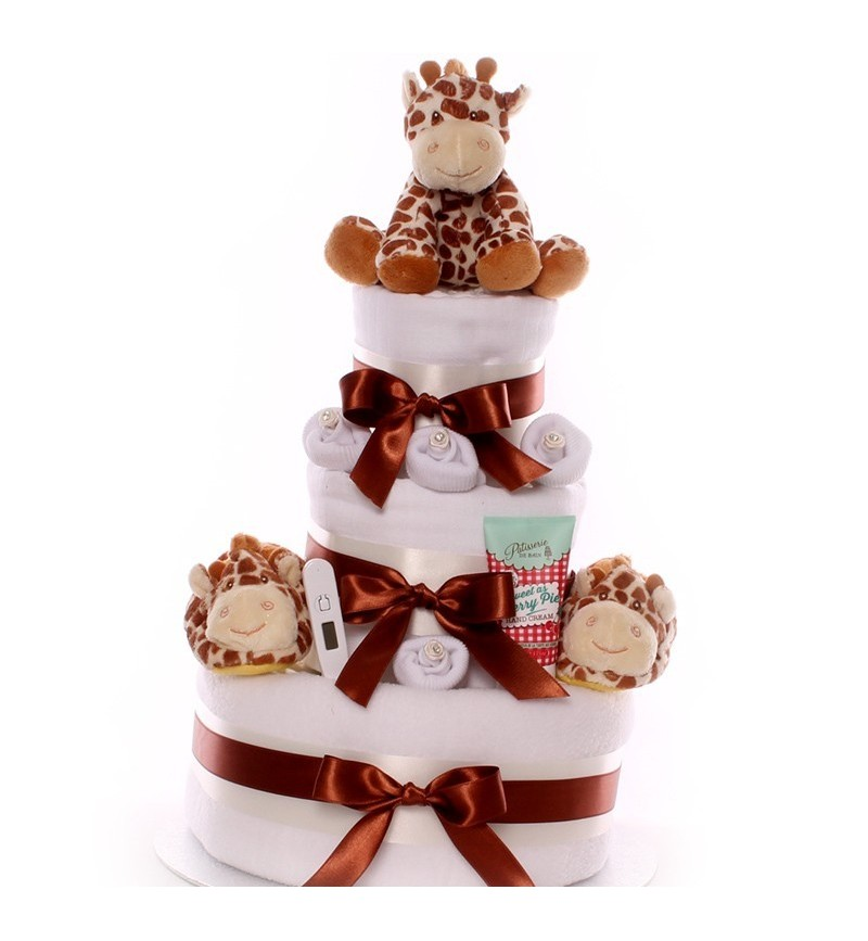 Neutral Nappy Cake 3 Tier with Giraffe Toy and Booties