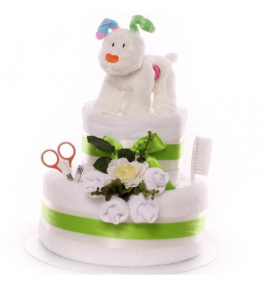 Snow Dog Nappy Cake