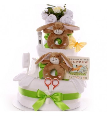 Neutral Twin Nappy Cake