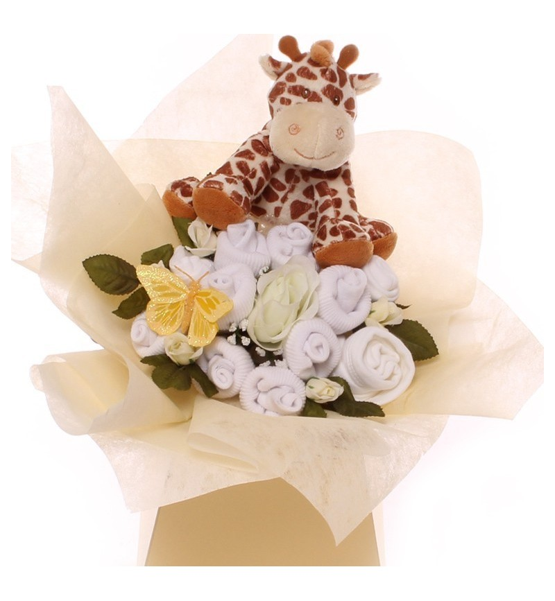 Unisex baby clothing bouquet with a soft plush rattle.