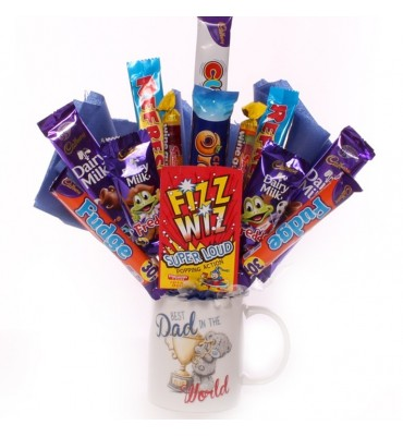 The Best Dad In The World Tatty Teddy Mug Chocolate Bouquet.