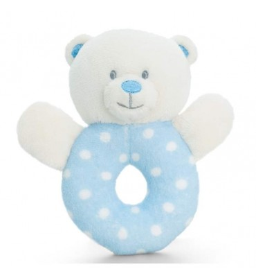 Blue spotty ring rattle by Keel Toys