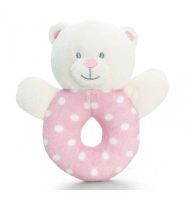 Baby Girl Spotty Bear Ring Rattle 12 cm Keel Toys.