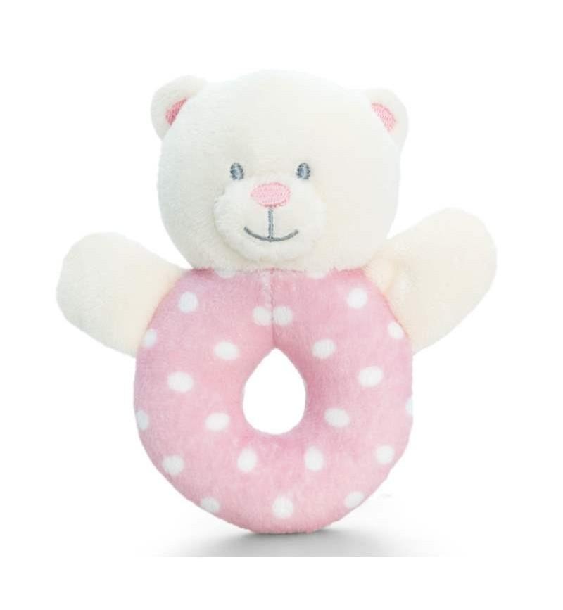 Baby Girl Spotty Bear Ring Rattle 12 cm Keel Toys.