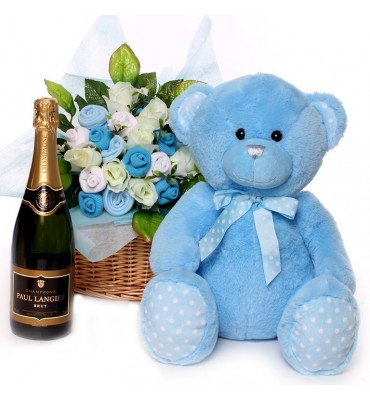 Champagne baby bouquet with large teddy bear.