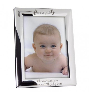 Personalised Its a Girl Footprints 5x7 Photo Frame