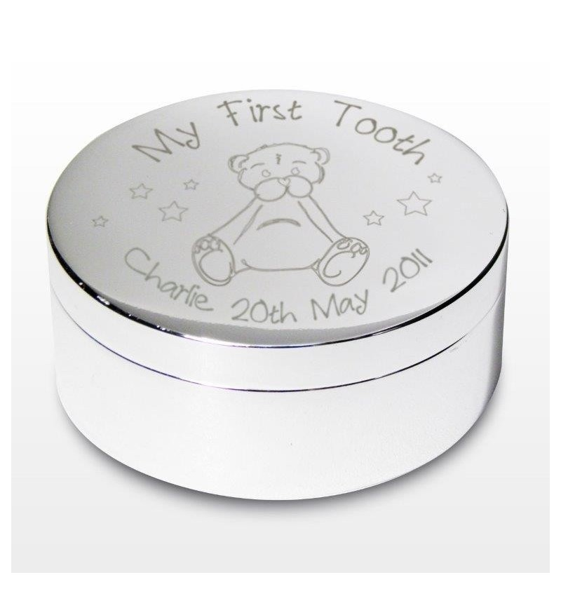 Personalised Teddy My First Tooth Trinket Box