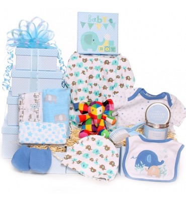 Elmer Elephant Baby Boy Gift Tower.