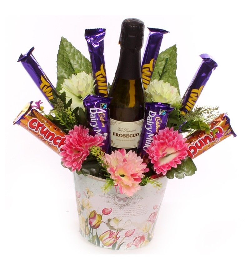 Prosecco and Cadbury Chocolate Flower Pot.