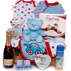 Baby Boy Hampers and New Baby Boy Gift Baskets all in stock and ready for dispatch today.